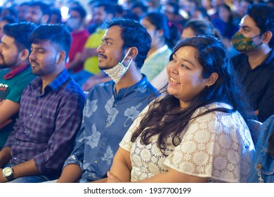 Ranchi, Jharkhand, India - 14 January 2021: Group of diverse Indian happy smiling audience listening to the speaker and enjoying the show.