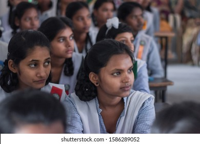Ranchi, Jharkhand, India - 30 November 2018 : Indian College girl students attending class. | College Girls in uniform sincerely attending classes