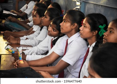 Ranchi, Jharkhand, India - 30 November 2018 : Indian school girl students attending class. | College Girls in uniform sincerely attending classes