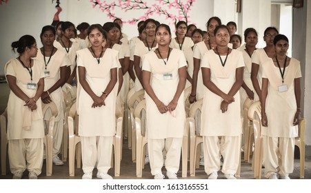 Ranchi, Jharkhand / India - January 12 2019 : Group of Girls Students from B. Ed Colleges  of India,Bachelor of Education, Teacher's Training session. Group of young Women students standing.