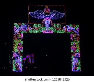 """""""Ranchi, Jharkhand/India-January 16 2019: gate lighting from a Durga Puja pandal. The gate looked just stunning against the dark night sky.It is a sign of true beauty & creativity."""""""