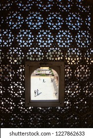 """Ranchi, Jharkhand/India-November 12 2018: This pic shows a netted window of the Amber Fort in Amer. It was used by the queens who were not allowed to show their faces to the commoners."""