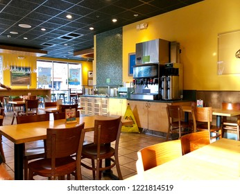 RANCHO CORDOVA, CA, USA - NOV 1, 2018: Rubio's Coastal Grill Food Chain restaurant interior.