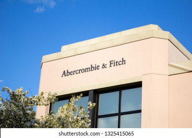 Rancho Cucamonga, California/United States - 2/22/19: A store front sign for the clothing store known as Abercrombie & Fitch