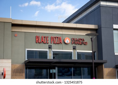 Rancho Cucamonga, California/United States - 2/22/19: A store front sign for the restaurant Blaze Pizza