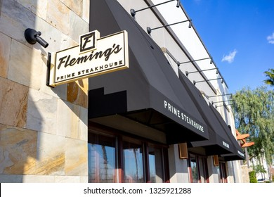 Rancho Cucamonga, California/United States - 2/22/19: A store front sign for the fine dining steakhouse known as Fleming's Prime steakhouse & Wine Bar