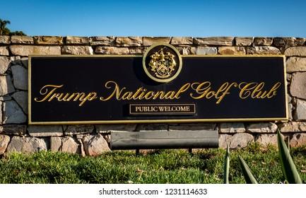 Rancho Palos Verdes, California - November 12, 2018: The entrance sigh of the Trump National Golf Course, in Rancho Palos Verdes, which opened in January of 2006.