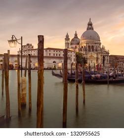 rand Canal and Basilica Santa Maria della Salute, Venice, Italy on Sunset