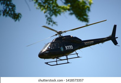 Randallstown, MD/USA - June 4, 2019 during a scary day when the gas and electric company rented a helicopter to survey the power lines. The helicopter was also for a movies so they left the NYPD