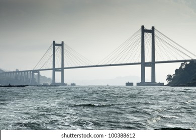 Rande Bridge over Vigo Ria, Pontevedra, Galicia, Spain. It is a cable-stayed bridge linking Vigo to Morrazo peninsula.