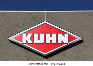 Randers, Denmark - May 5, 2018: Kuhn logo on a wall. Kuhn is a French company, a subsidiary of the Swiss industrial group Bucher and the company manufactures towed agricultural equipment