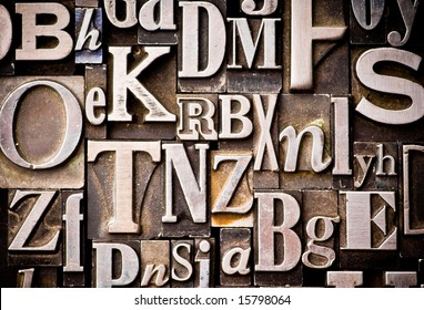 A random arrangement of letterpress letters. Part of a series of letterpress backgrounds