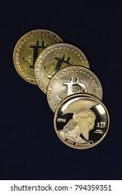 Random bitcoin on black background isolated