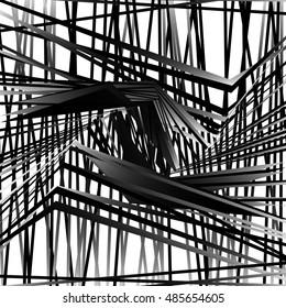 Random, chaotic grayscale, monochrome geometric texture. Abstract modern, contemporary art