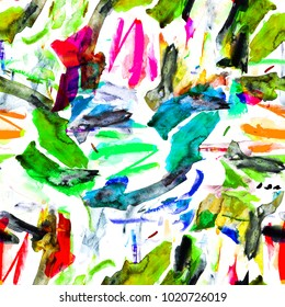 Random, chaotic paint spots. Splatter drip art palette seamless hand drawn background bright vivid colors
