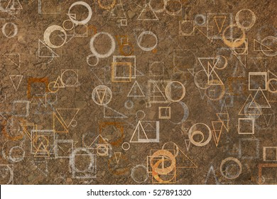 Random circle, square, rectangle & triangle shape, digital generative art for design texture & background, grunge & rough, motion blur