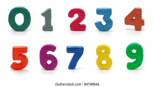Random Colored Digits in Alphabetical Order Isolated on White (zero, one, two, three, four, five, six, seven, eight, nine)