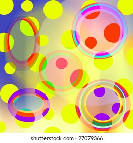 random colorful circles in random hues