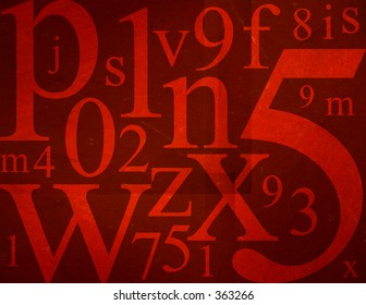 Random letters and numbers on red grunge background.