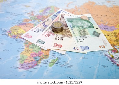 Rands notes and coins, South Africa