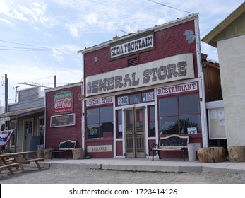 Randsburg, California- July 2018: Side view of the facade of the General Store in  Randsburg, one of the gold mining ghost towns in California.