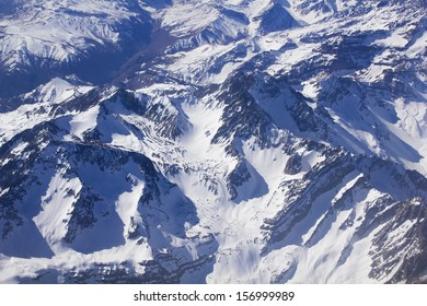 Range of the Andes between Argentina and Chile. Aerial Photography.