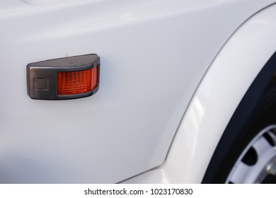 The range blinker big truck photographed close-up