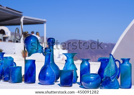 Range Blue Vases Terrace Shop Santorini Stock Photo Edit Now