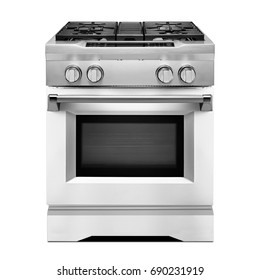 Range Cooker Isolated on White. Front View of Stainless Steel Single Gas Stove. Five Burner Gas Hob. Steam Fuel  with Convection Oven and Five-Burner Cooktop. Electric Kitchen Appliances