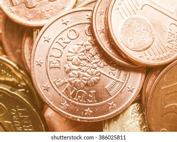 Range of Euro coins useful as a background vintage