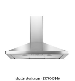 Range Hood Isolated on White Background. Cooking Canopy. Stainless Steel Fume Extractor. Island Ventilation.  Front View of Electric Chimney. Kitchen and Domestic Major Appliances