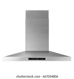Range Hood Isolated on White Background. Front View of Cooking Canopy. Stainless Steel Fume Extractor. Front View of Electric Chimney. Kitchen Appliances. Clipping Path