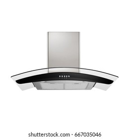 Range Hood Isolated on a White Background. Glass Wing Kitchen Island Range Hood. Cooking Hoods. Front View of Stainless Steel Cooker Hood. Chimney Hood. Kitchen Appliances. Clipping Path
