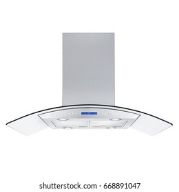 Range Hood Isolated on White Background. Front View of Stainless Steel Cooker Hood. Kitchen Wall Mount Range Hood with Tempered Glass and Touch Control. Cooking Hoods. Chimney Hood. Kitchen Appliances