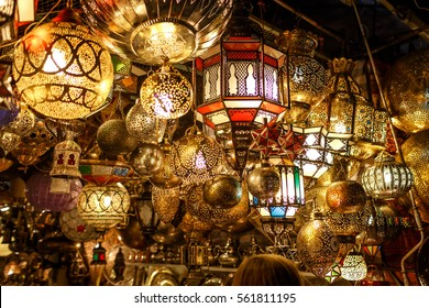 Range of lantern and lamp hanging in the market at Marakesh