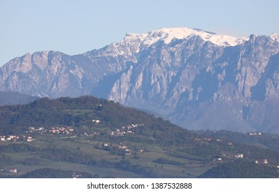 range mountains called PASUBIO MOUNT in Northern Italy in winter