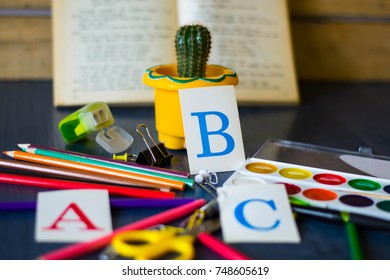 Range of office and school supplies on the table