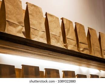 Range of Paper Bags on the Shelf.