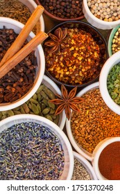 A range of spices used in cooking to add seasoning. cinnamon, lavender, cardamon, chilli, star anise, peppers, turmeric, dill, etc.