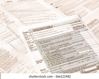 Range of various blank USA tax forms vintage