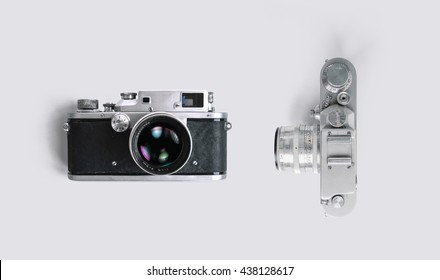 rangefinder vintage camera on white background