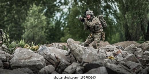ranger during patrol in city ruins
