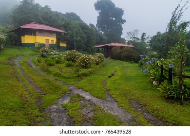 Ranger station of National Park Volcan Baru during rainy season, Panama.