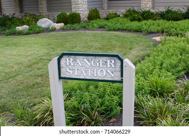 The ranger station sign at the park.