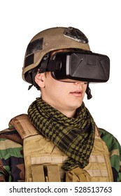 Rangerr wearing virtual reality glasses. Military and technology concept.