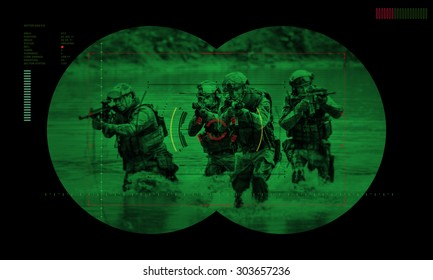 rangers team during night mission/operation hostage rescue.view through the night vision device