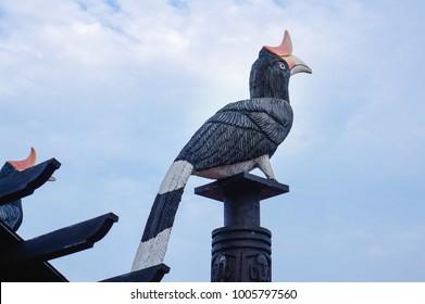 Rangkong or Hornbill statue at Rumah Radakng, Pontianak, West Borneo