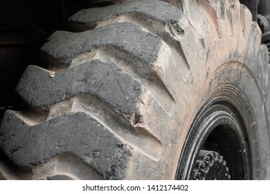 Rangsit,Thailand : 26 FEB 2019 - Close up dirty tire of tractor.