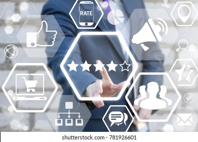 Ranking, Quality Rating, Performance Review, Evaluation, Feedback, Favorite and Classification concept. Businessman using virtual interface presses ranking four out of five stars button.