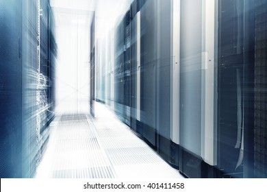 ranks of modern server hardware in data center